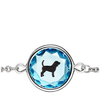 Pets Bracelet: Beagle in Blue Crystal & Black Enameled Engraving