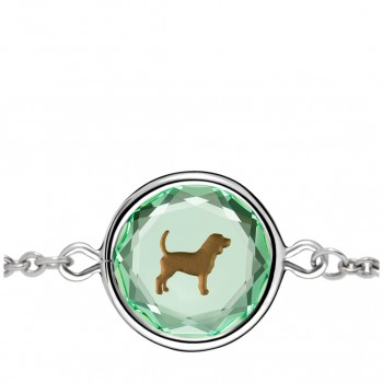 Pets Bracelet: Beagle in Green Crystal & Brown Enameled Engraving