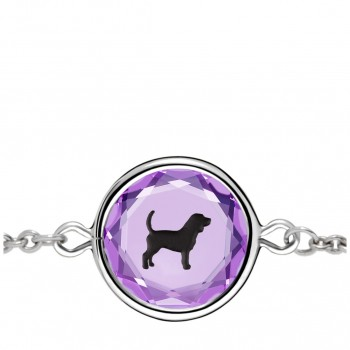Pets Bracelet: Beagle in Purple Crystal & Black Enameled Engraving
