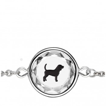 Pets Bracelet: Beagle in White Crystal & Black Enameled Engraving