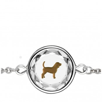 Pets Bracelet: Beagle in White Crystal & Brown Enameled Engraving
