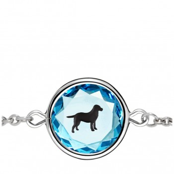 Pets Bracelet: Labrador in Blue Crystal & Black Enameled Engraving