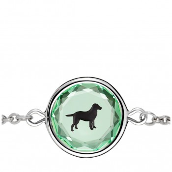 Pets Bracelet: Labrador in Green Crystal & Black Enameled Engraving