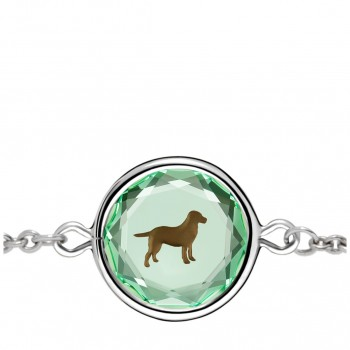 Pets Bracelet: Labrador in Green Crystal & Brown Enameled Engraving