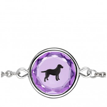 Pets Bracelet: Labrador in Purple Crystal & Black Enameled Engraving