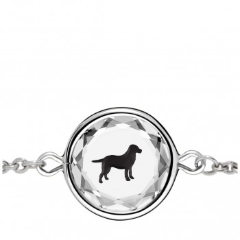 Pets Bracelet: Labrador in White Crystal & Black Enameled Engraving
