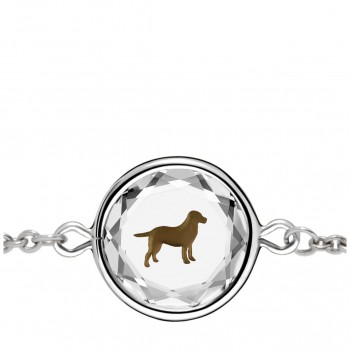Pets Bracelet: Labrador in White Crystal & Brown Enameled Engraving