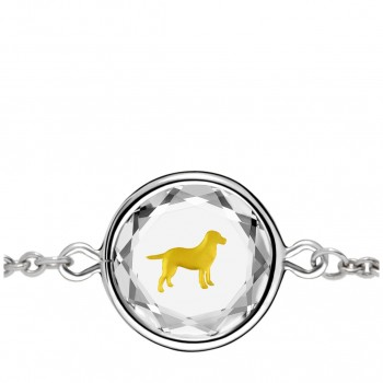 Pets Bracelet: Labrador in White Crystal & Gold Enameled Engraving