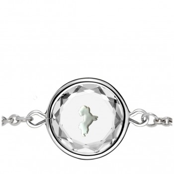 Pets Bracelet: Maltese in White Crystal & White Enameled Engraving