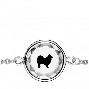 Pets Bracelet: Pomeranian in White Crystal & Black Enameled Engraving