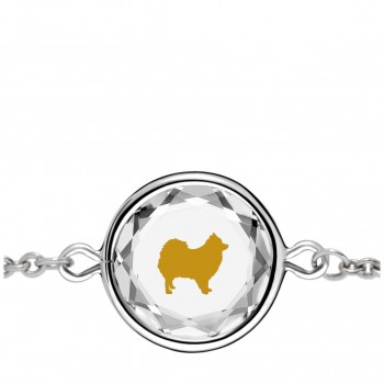 Pets Bracelet: Pomeranian in White Crystal & Gold Enameled Engraving