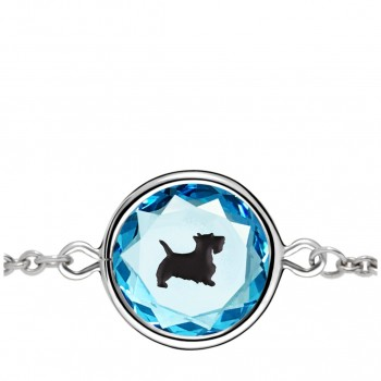 Pets Bracelet: Scottie in Blue Crystal & Black Enameled Engraving