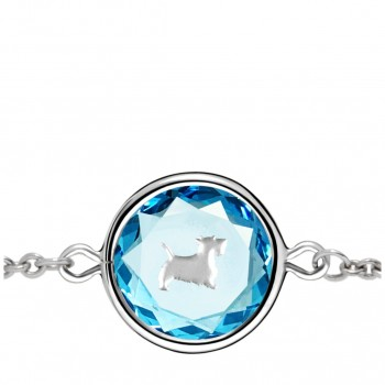 Pets Bracelet: Scottie in Blue Crystal & Metallic Enameled Engraving