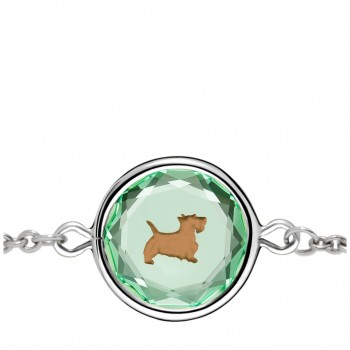 Pets Bracelet: Scottie in Green Crystal & Brown Enameled Engraving