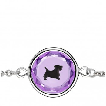 Pets Bracelet: Scottie in Purple Crystal & Black Enameled Engraving