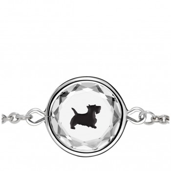 Pets Bracelet: Scottie in White Crystal & Black Enameled Engraving