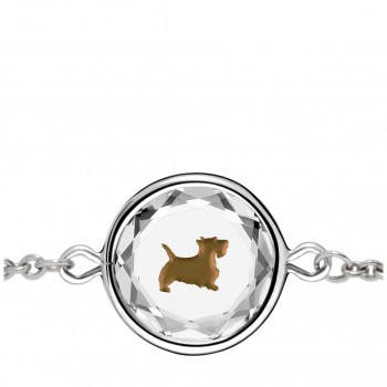 Pets Bracelet: Scottie in White Crystal & Brown Enameled Engraving