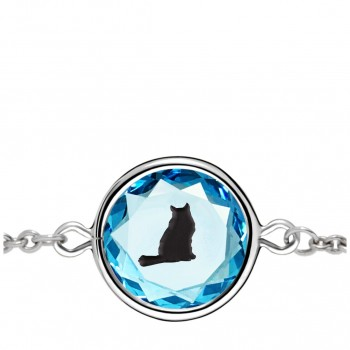 Pets Bracelet: Tabby in Blue Crystal & Black Enameled Engraving