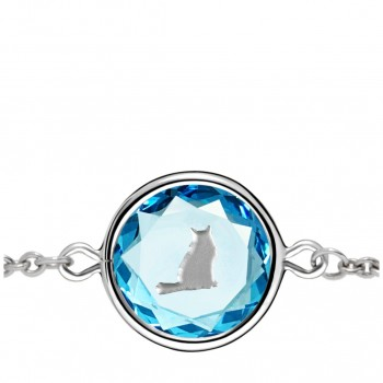 Pets Bracelet: Tabby in Blue Crystal & Metallic Enameled Engraving