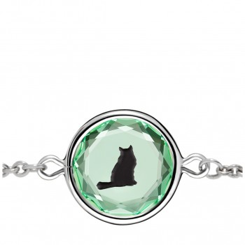 Pets Bracelet: Tabby in Green Crystal & Black Enameled Engraving