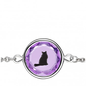 Pets Bracelet: Tabby in Purple Crystal & Black Enameled Engraving