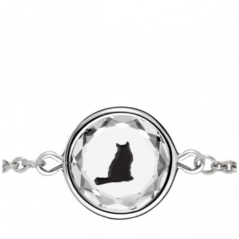 Pets Bracelet: Tabby in White Crystal & Black Enameled Engraving