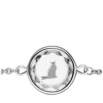Pets Bracelet: Tabby in White Crystal & Metallic Enameled Engraving