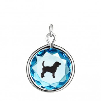 Pets Charm: Beagle in Blue Crystal & Black Enameled Engraving