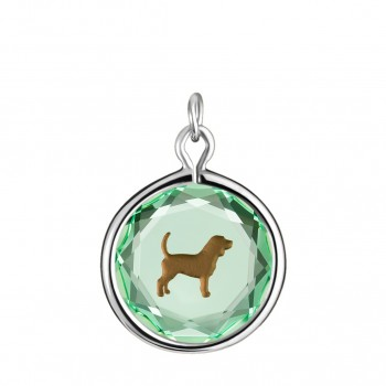 Pets Charm: Beagle in Green Crystal & Brown Enameled Engraving