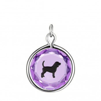 Pets Charm: Beagle in Purple Crystal & Black Enameled Engraving