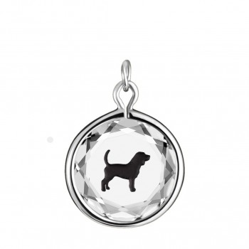 Pets Charm: Beagle in White Crystal & Black Enameled Engraving