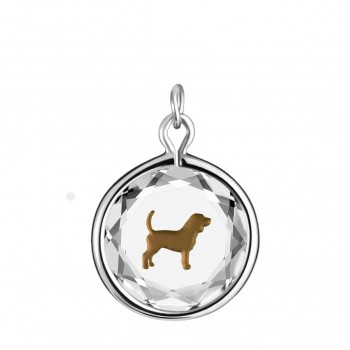 Pets Charm: Beagle in White Crystal & Brown Enameled Engraving