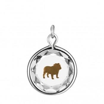 Pets Charm: English Bulldog in White Crystal & Brown Enameled Engraving