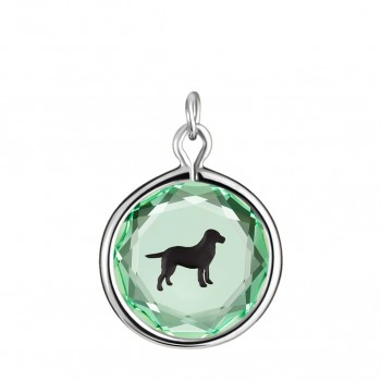Pets Charm: Labrador in Green Crystal & Black Enameled Engraving