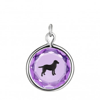 Pets Charm: Labrador in Purple Crystal & Black Enameled Engraving