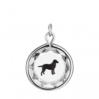 Pets Charm: Labrador in White Crystal & Black Enameled Engraving