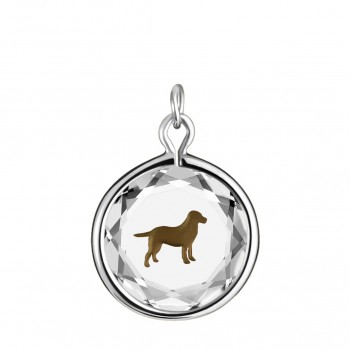 Pets Charm: Labrador in White Crystal & Brown Enameled Engraving