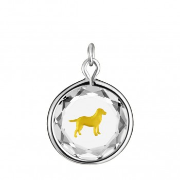 Pets Charm: Labrador in White Crystal & Gold Enameled Engraving