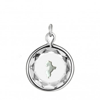 Pets Charm: Maltese in White Crystal & White Enameled Engraving