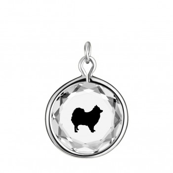 Pets Charm: Pomeranian in White Crystal & Black Enameled Engraving
