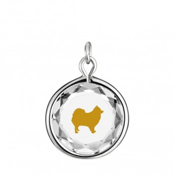 Pets Charm: Pomeranian in White Crystal & Gold Enameled Engraving