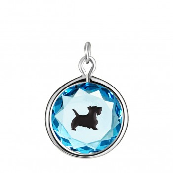 Pets Charm: Scottie in Blue Crystal & Black Enameled Engraving