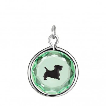 Pets Charm: Scottie in Green Crystal & Black Enameled Engraving