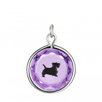 Pets Charm: Scottie in Purple Crystal & Black Enameled Engraving