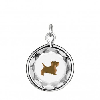 Pets Charm: Scottie in White Crystal & Brown Enameled Engraving