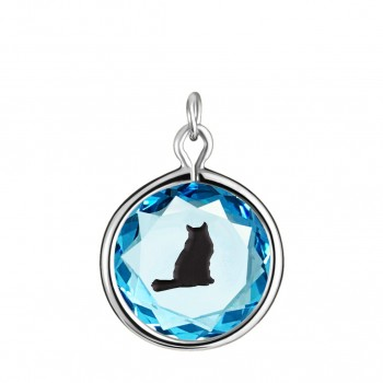 Pets Charm: Tabby in Blue Crystal & Black Enameled Engraving