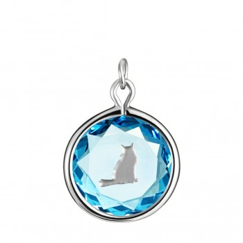 Pets Charm: Tabby in Blue Crystal & Metallic Enameled Engraving