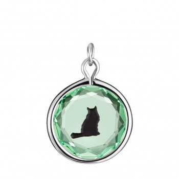 Pets Charm: Tabby in Green Crystal & Black Enameled Engraving