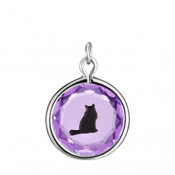 Pets Charm: Tabby in Purple Crystal & Black Enameled Engraving