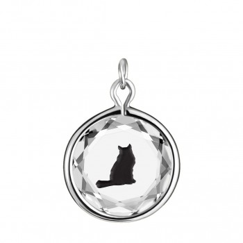 Pets Charm: Tabby in White Crystal & Black Enameled Engraving